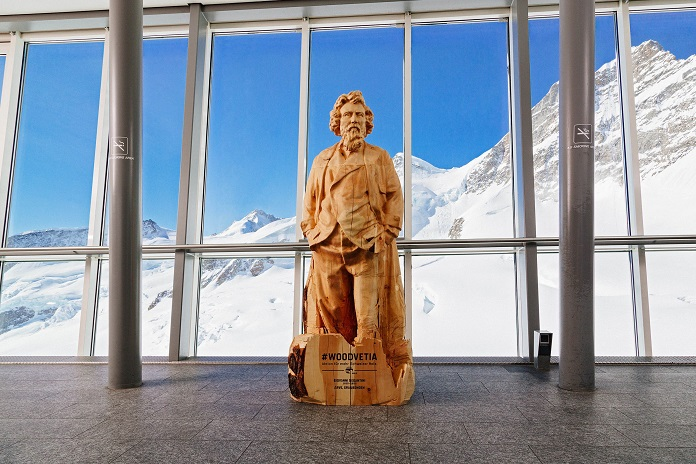 life-size wooden statue