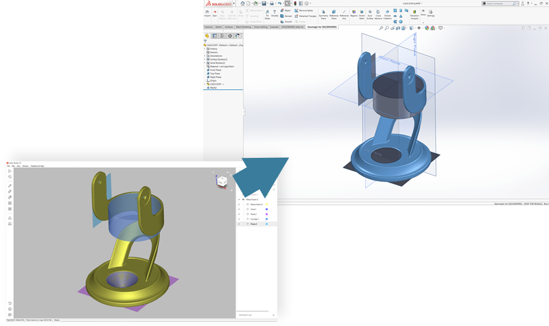 Export CAD Files Directly To SOLIDWORKS Or Geomagic Design X