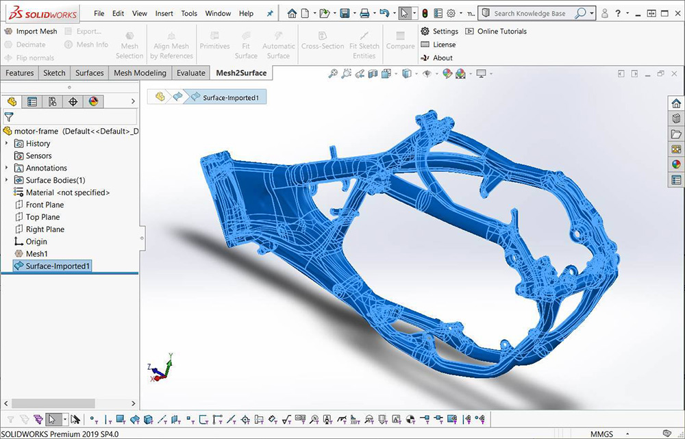 Mesh2Surface Plug-in For SOLIDWORKS